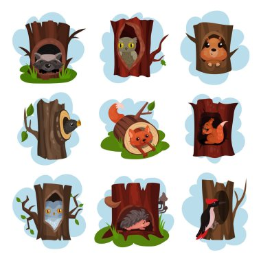 Cute animals and birds sitting in hollow of trees set, hollowed out old trees with fox, owl, hedgehog, raccoon, woodpecker, squirrel animals inside cartoon vector Illustrations