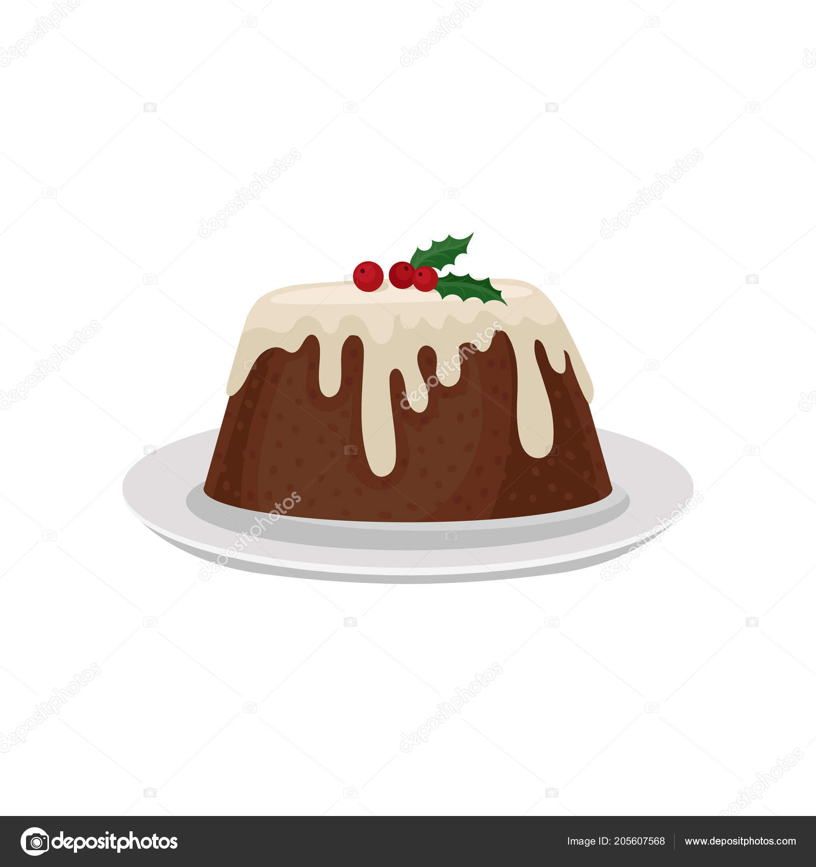 Christmas plum pudding decorated with red cranberry traditional traditional dessert of english cuisine sweet food colorful graphic element for menu or recipe book flat vector illustrations isolated on white forumfinder Image collections