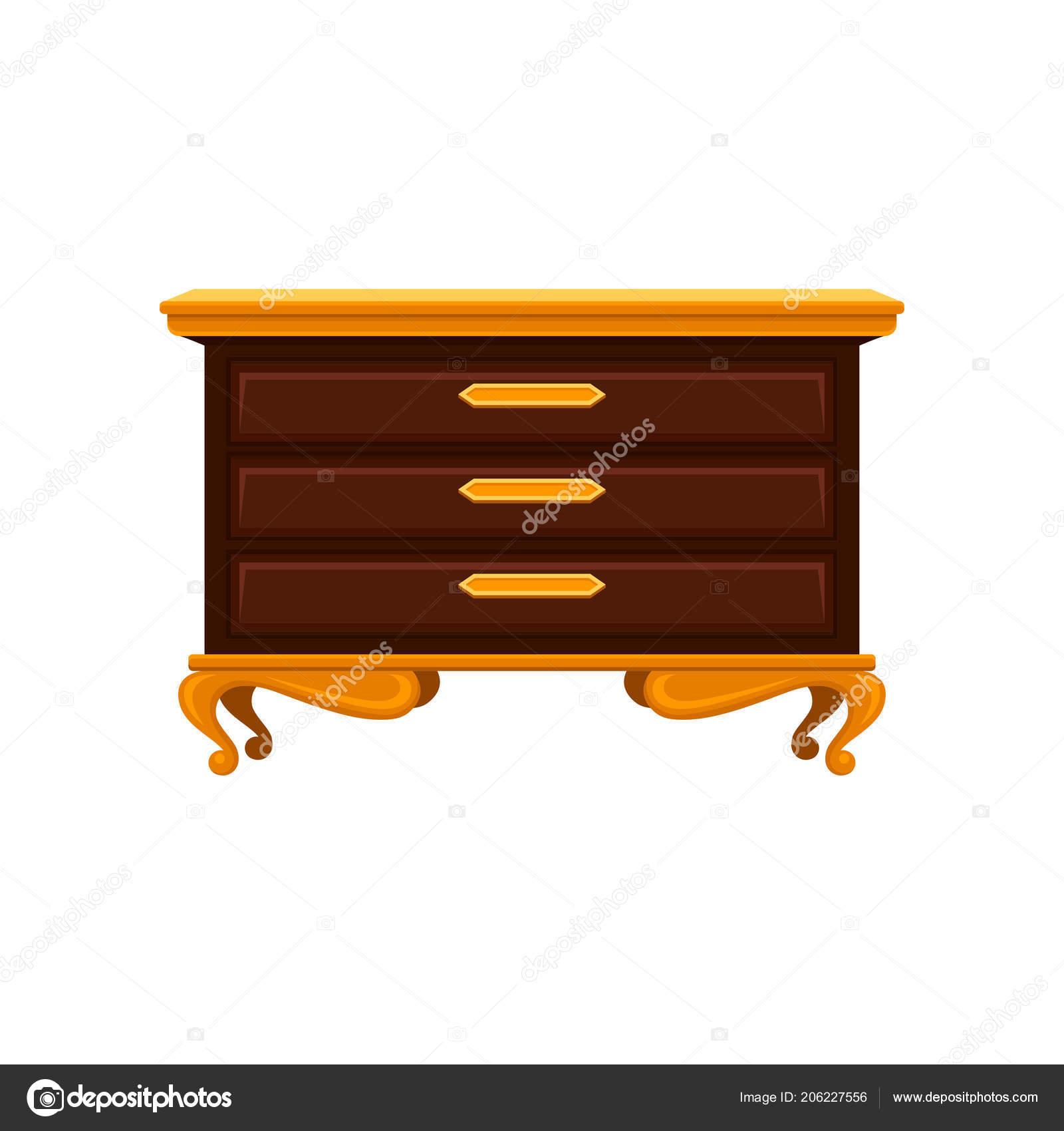 Antike Kommode Mit Goldenen Beinen Griffe Und Deckfläche