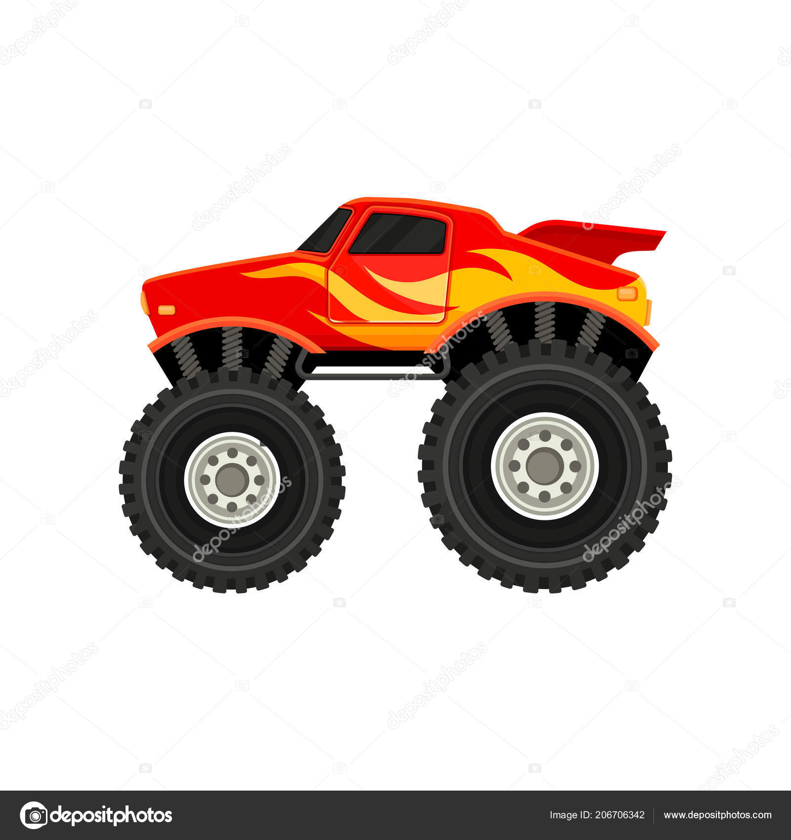 Flat vector icon of red monster truck with yellow orange flame decal car with