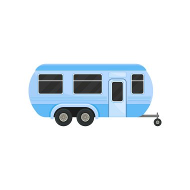 Flat vector icon of blue camper trailer for family travel. Caravan with door and black tinted windows. Recreational vehicle