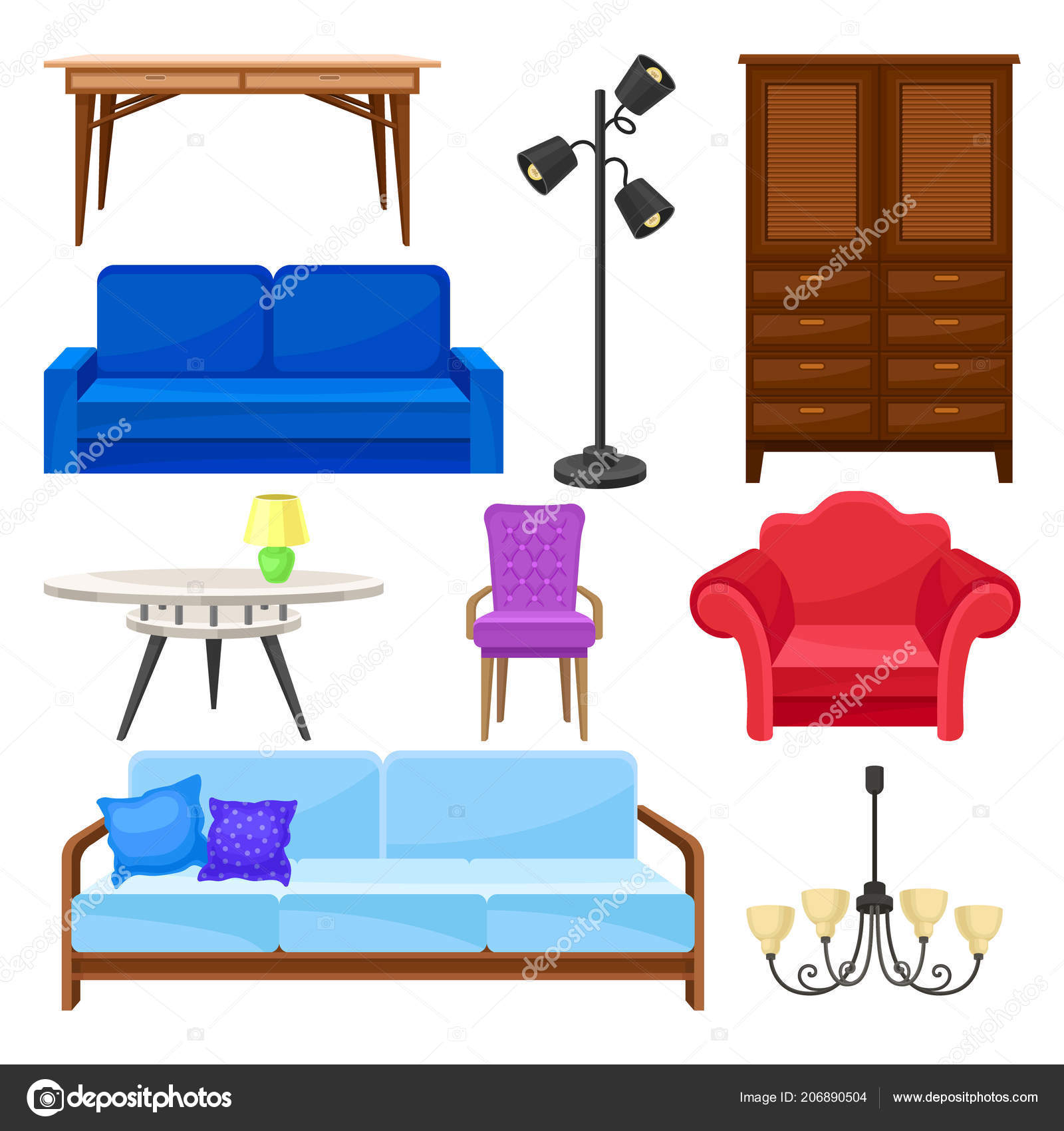 Modern furniture collection interior design elements vector illustrations on a white background stock vector