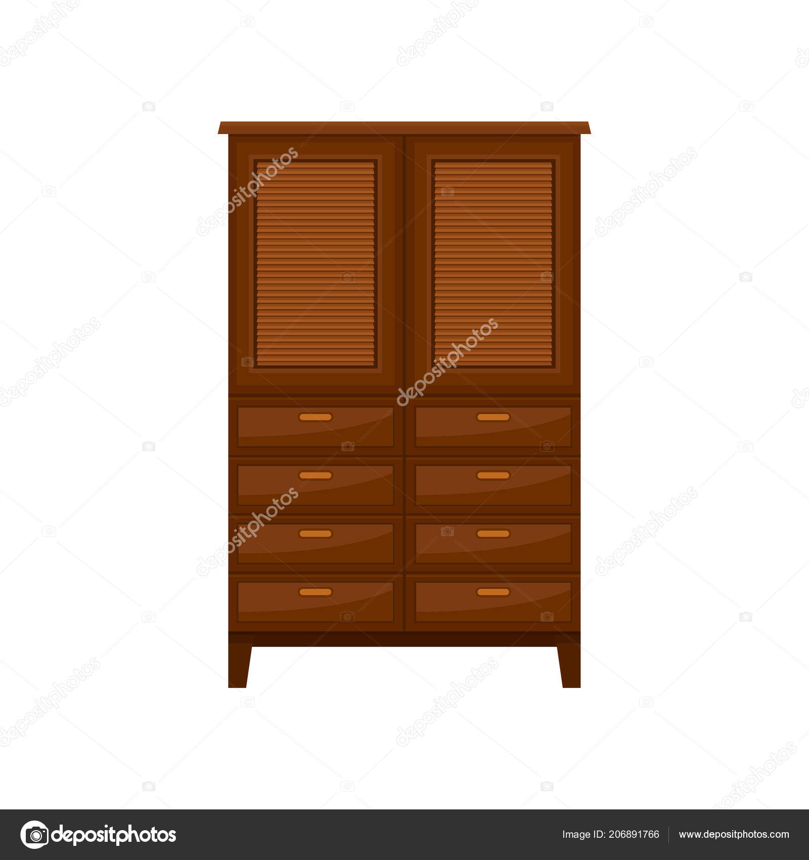 Brown wardrobe interior design element vector illustration isolated on a white background vector by happypictures