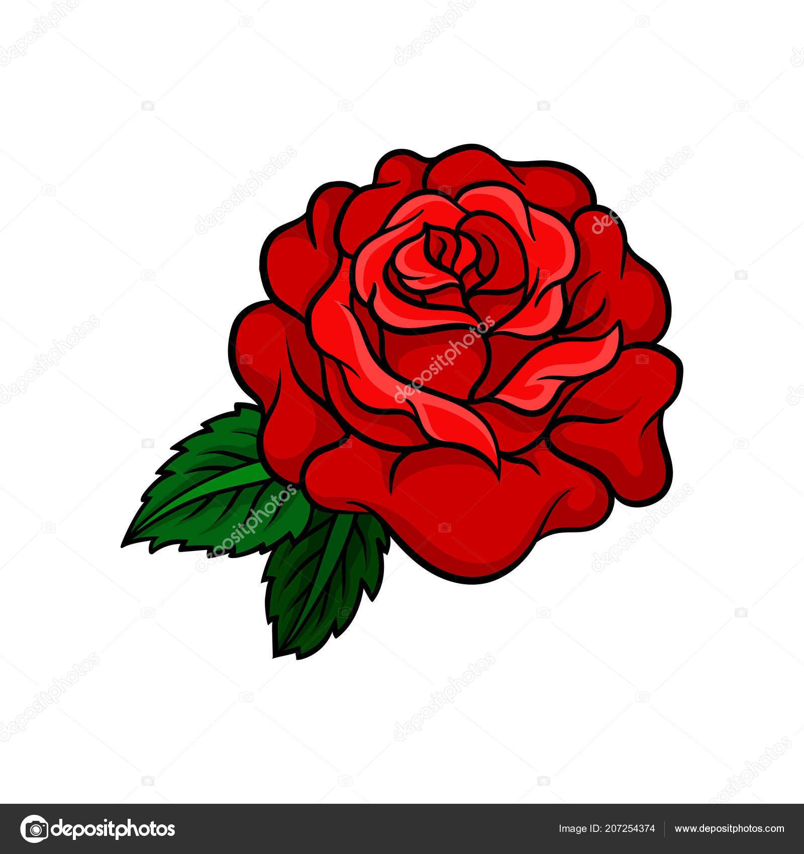 Icona Di Vettore Del Bocciolo Di Rosa Brillante Con Due Foglie Verdi