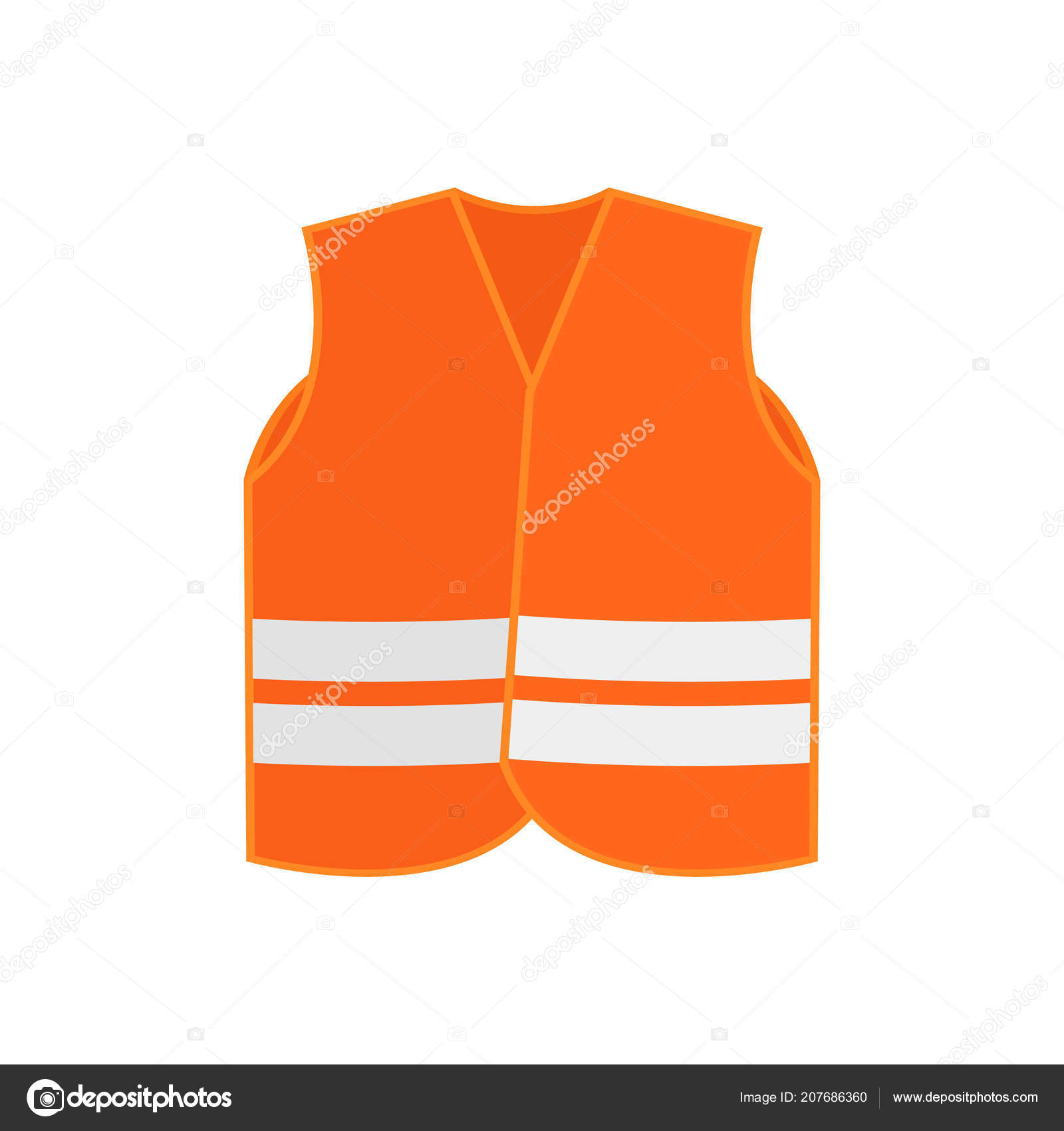 b2c5546f76 Illustration of bright orange safety vest waistcoat with two reflective  stripes. High-visibility clothing. Protective wear for workers.