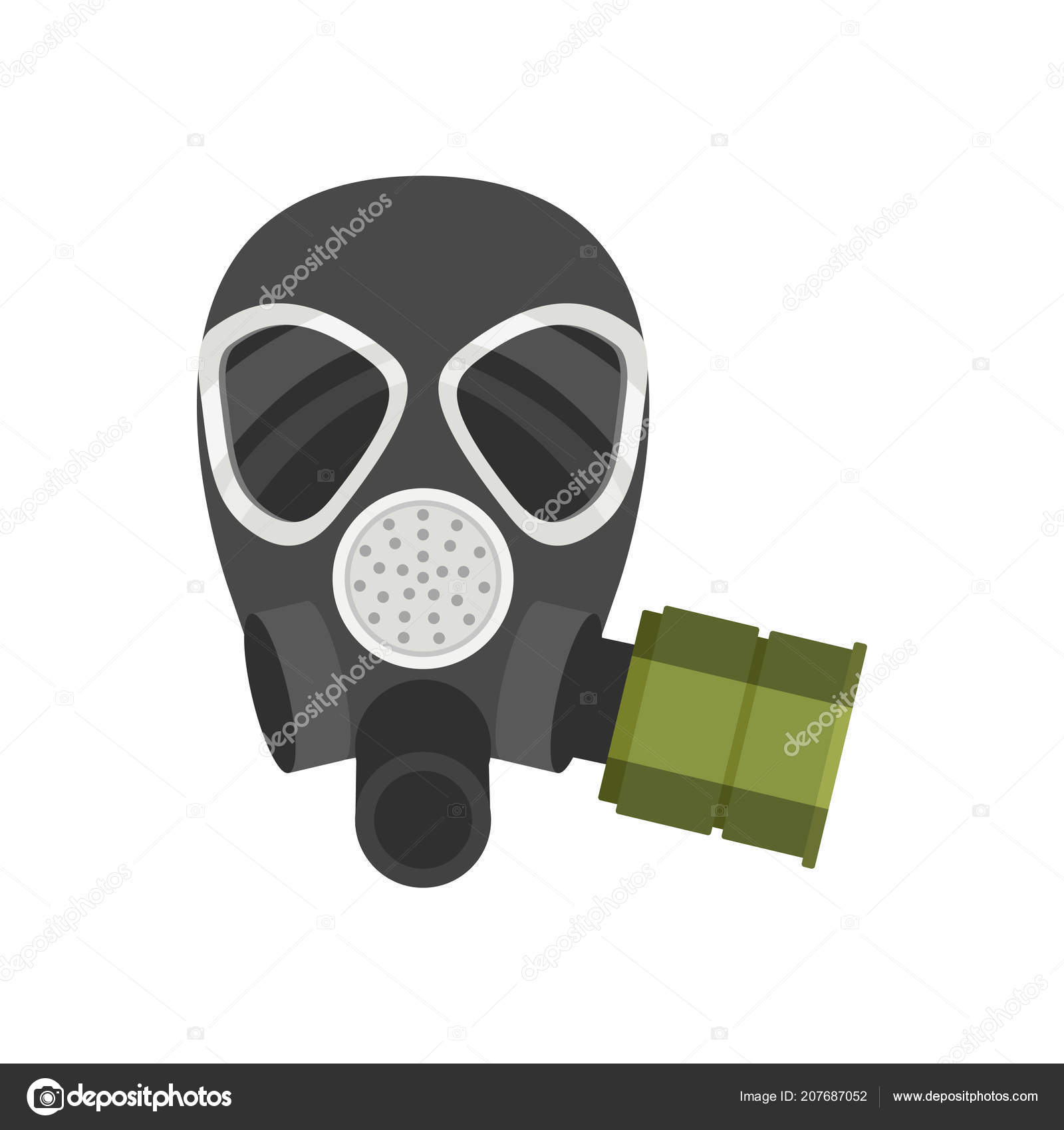 flat vector icon of respirator for firefighters or military