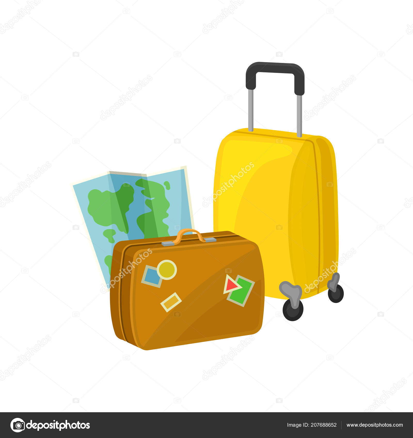 Vintage Suitcase With Stickers Travel Bag On Wheels And Paper Map