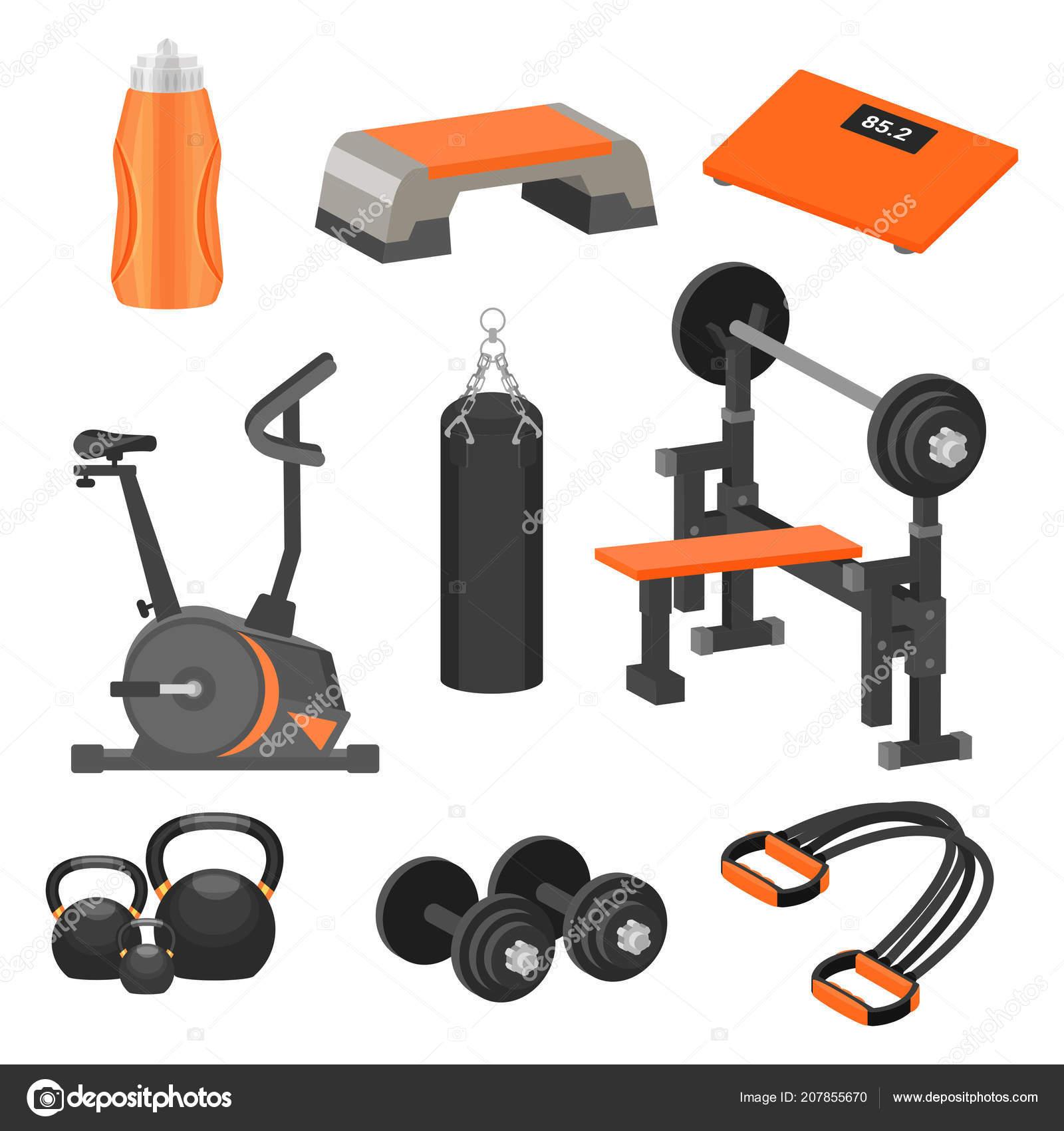 7b606d58e Conjunto de artigos de desporto diferente e equipamento de exercício. Tema  de estilo de vida saudável. Elementos gráficos coloridos para publicidade  cartaz ...