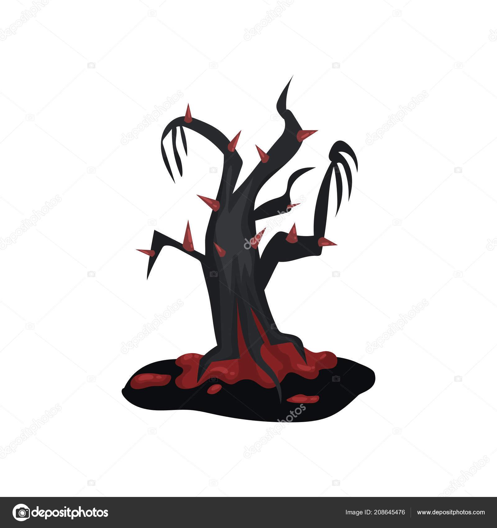 Cerny Hrozny Strom S Krvavou Cervene Trny Kresleny Krajinny Prvek