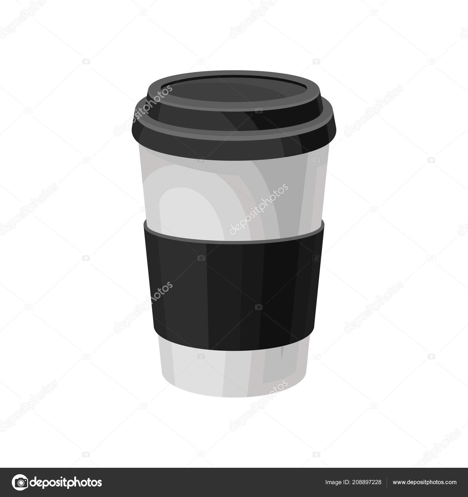 Paper Coffee Cup With Black Plastic Lid Take Away Packaging Template Vector Illustration On