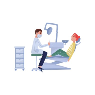 Male dentist doctor curing teeth to female patient in clinic, medical treatment and healthcare concept vector Illustration on a white background