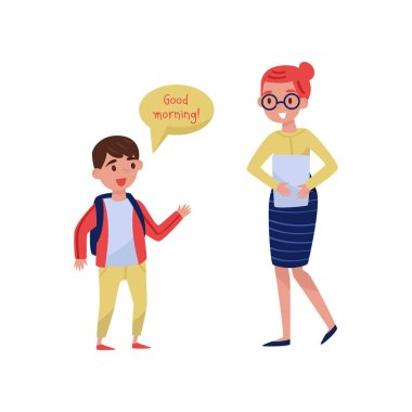 Cheerful school boy saying Good morning to his teacher. Good manners. Kid with backpack and woman with paper. Flat vector design