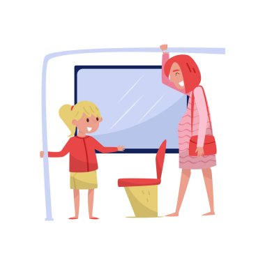 Cute little girl on the bus gives way seat to young pregnant woman. Child with good manners. Flat vector design