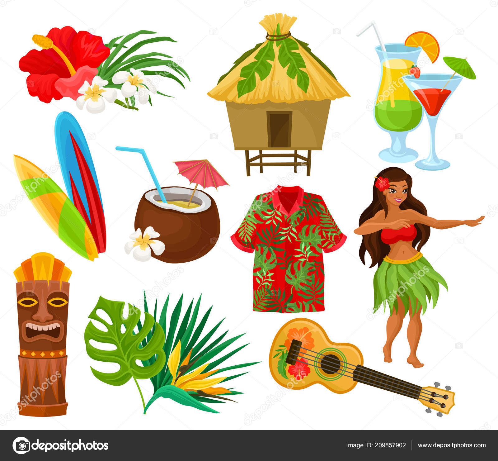 Traditional Symbols Of Hawaiian Culture Set Hibiscus Flower