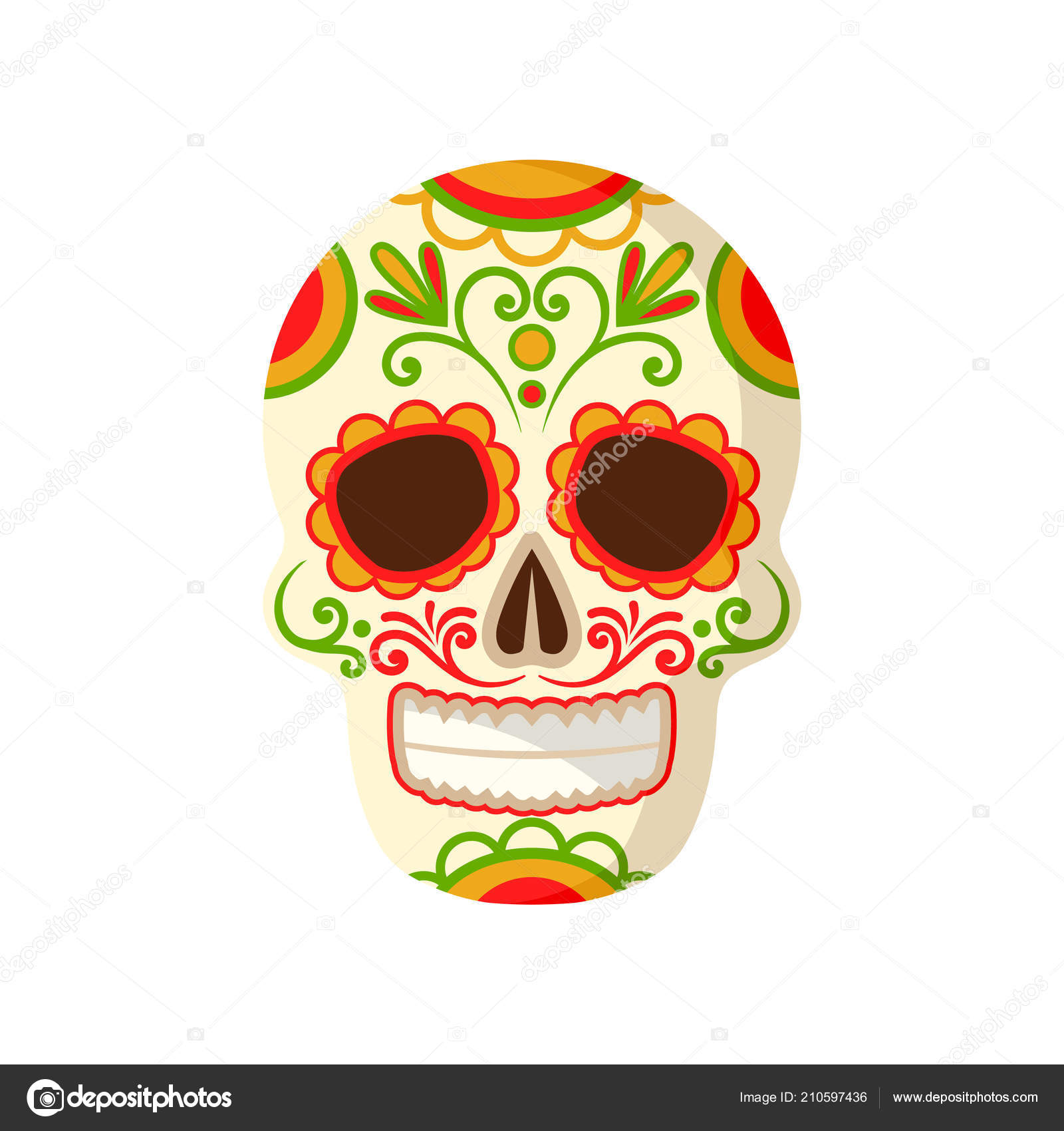 Sugar Skull With Floral Ornament Symbol Of Mexico Vector