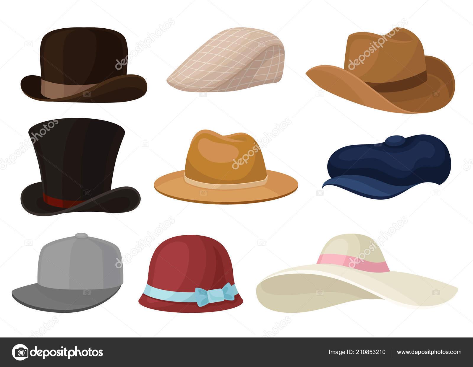 be1f01ee37c Επίπεδη διάνυσμα σύνολο άνδρας και γυναίκα καπέλα. Μοντέρνα ανδρικά ...