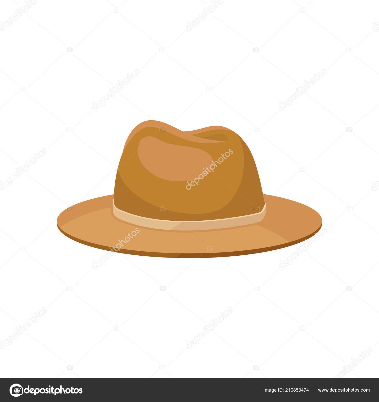 Chapéu Panamá clássico homens. Acessório elegante. Na moda casual headwear.  Ícone de vetor 234c3ff5527