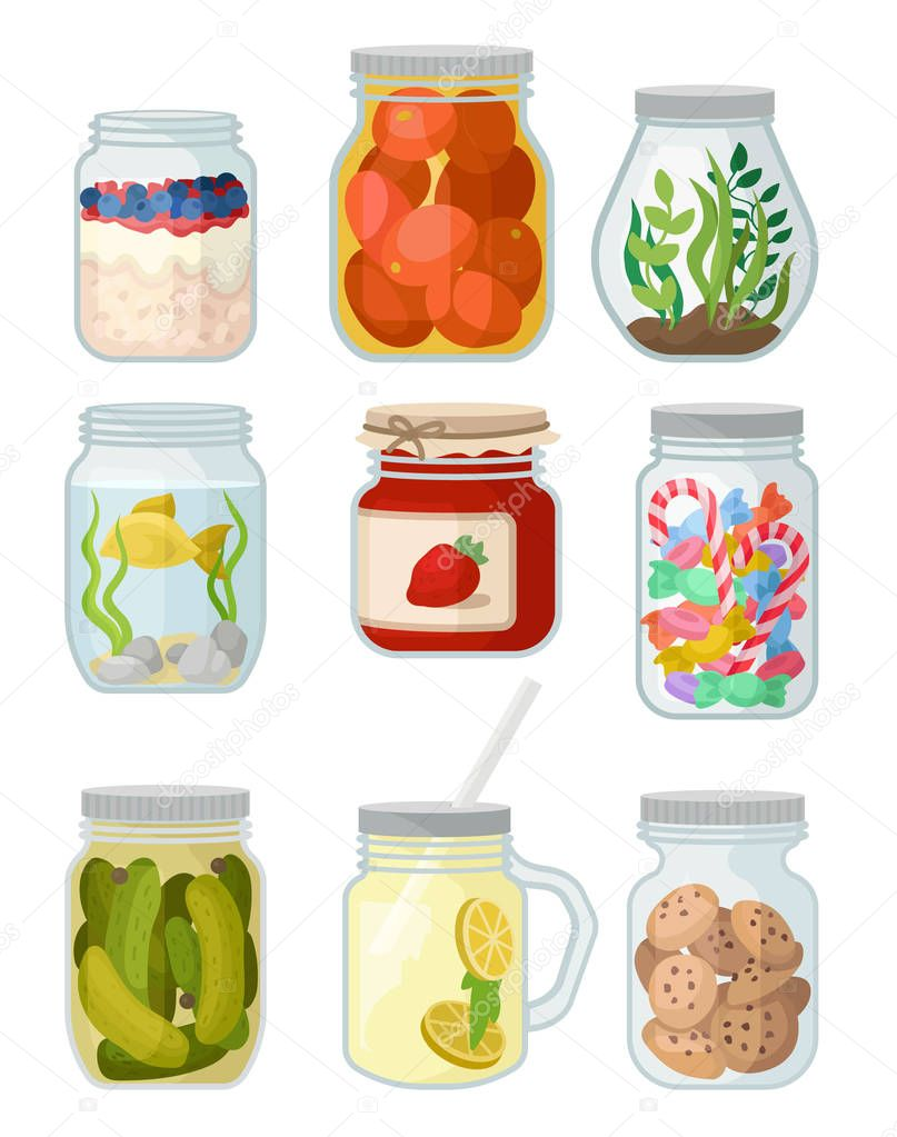 Flat vector set of jars with different objects. Canned vegetables, cookies and candies, jam, fish and grass, detox water and oatmeal