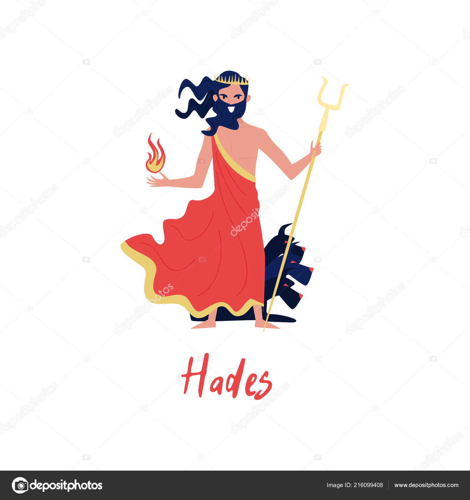 Hades Olympian Greek God Ancient Greece Myths Cartoon Character