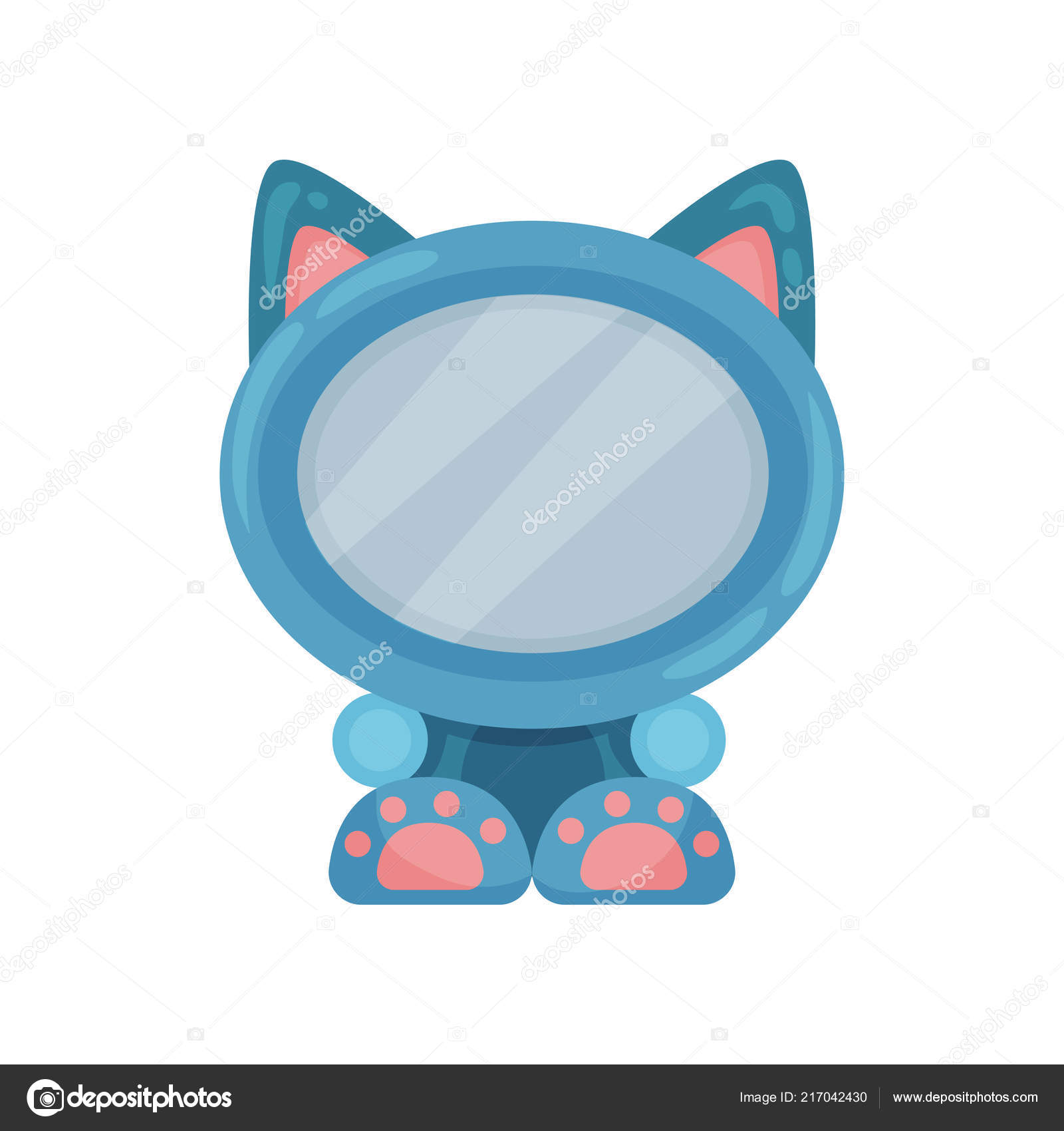 Cute Photo Frame In The Shape Of Cat Album Template For Kids With