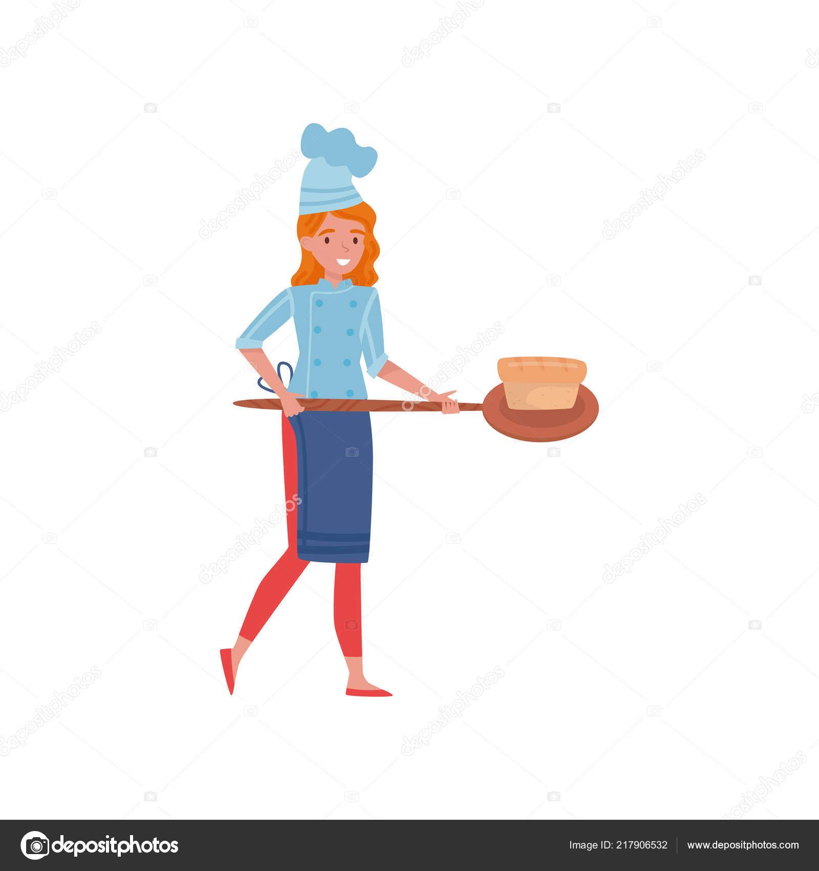 Cuisinier De Femme Tenant Une Palette En Bois Avec Pain Fraîchement