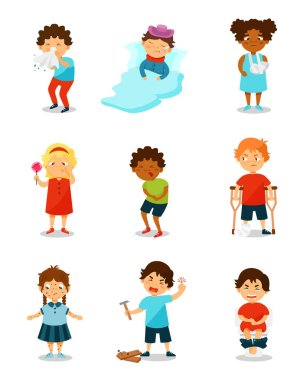 Sickness kids set, boys and girls suffering from different symptoms vector Illustration on a white background