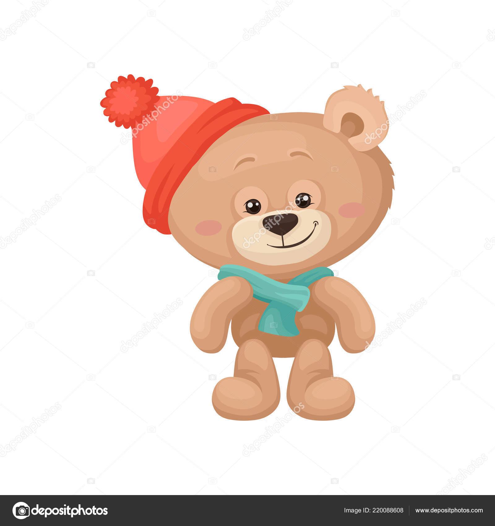 Adorável urso de pelúcia com bochechas rosa e olhos brilhantes usando  cachecol e chapéu quente. Brinquedo de pelúcia das crianças. ea4d9b9fa472
