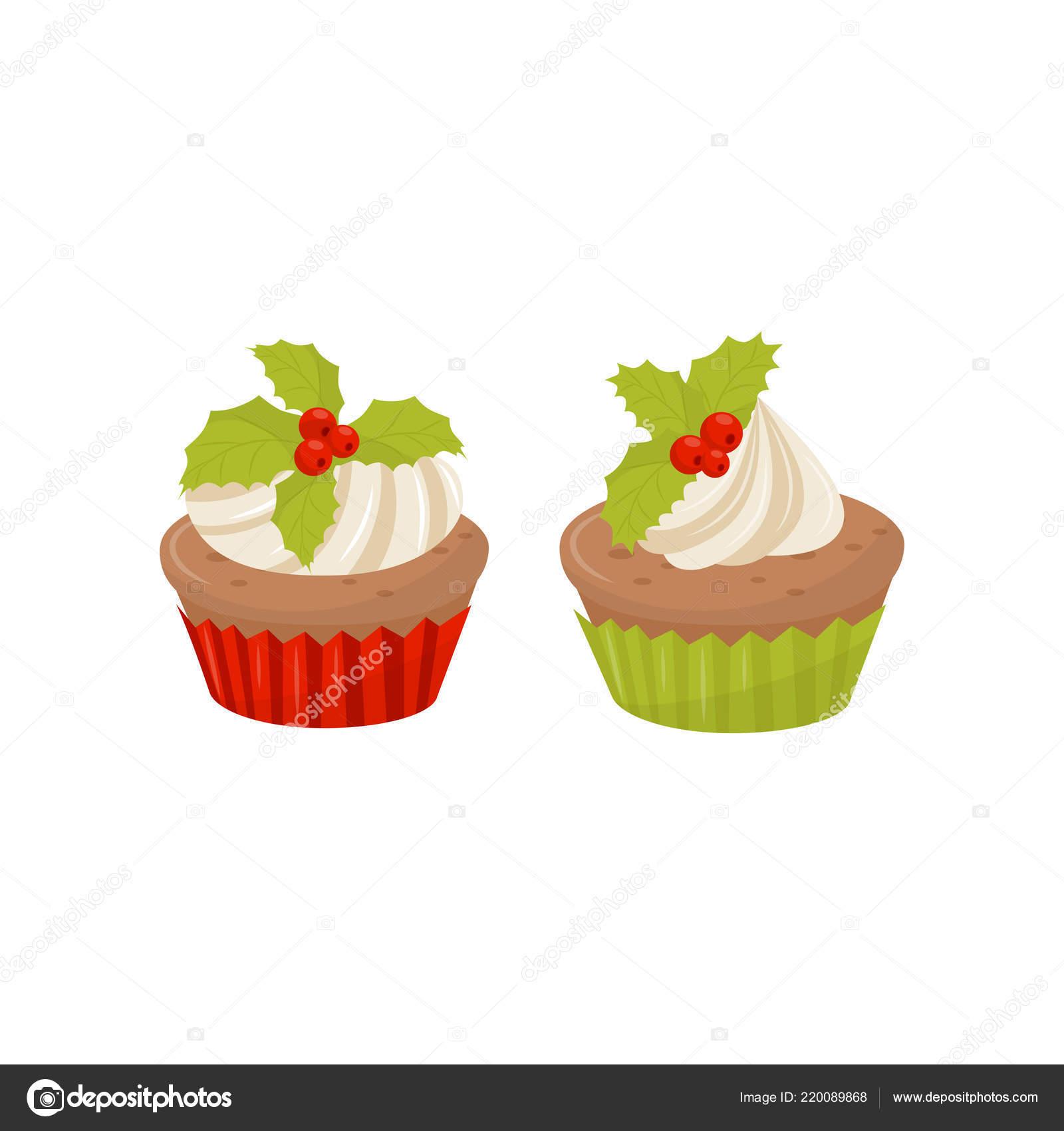 Deliciosos Cupcakes De Navidad Decoradas Con Batida Frutos Crema Y