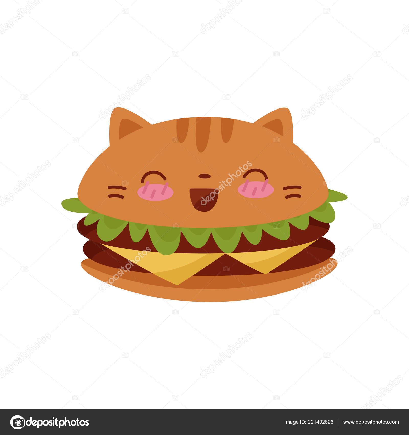Süße Burger Kawaii Essen Cartoon Charakter Vektor