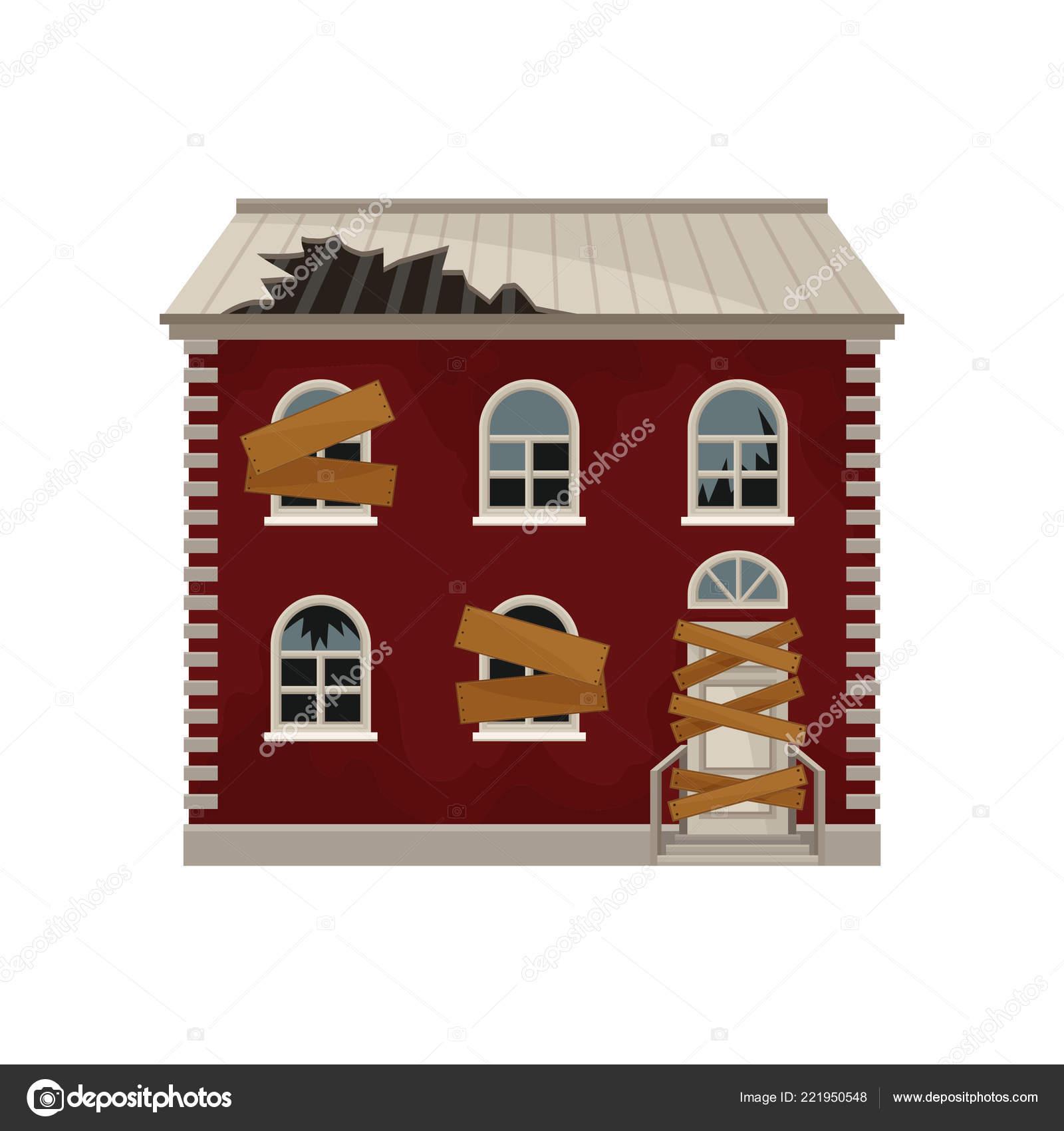 Icône de dessin animé de la vieille maison rouge avec toit brisé barricadé les portes et fenêtres bâtiment de deux étages façade de la grande maison