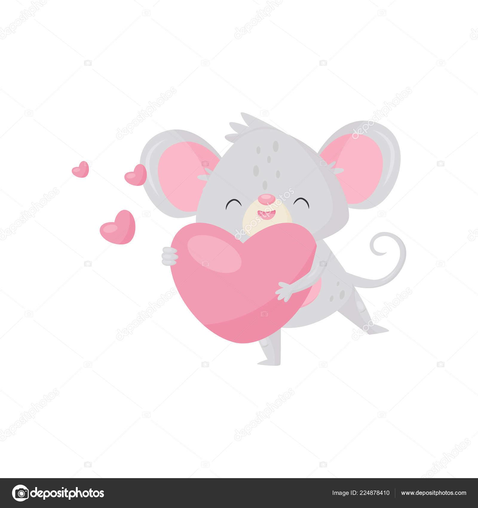 Topolino innamorato che tiene cuore rosa nelle zampe personaggio