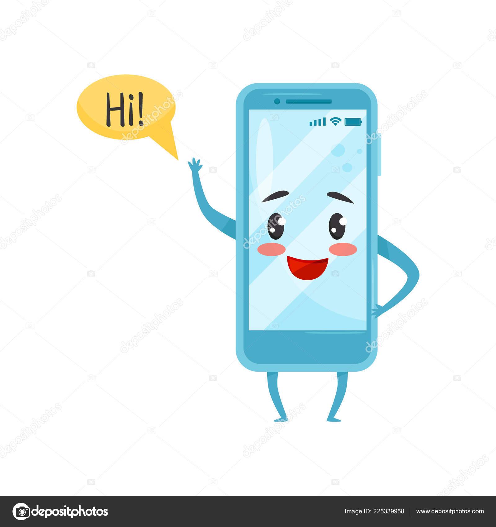 Cartoon saying hi | Blue humanized smartphone with funny