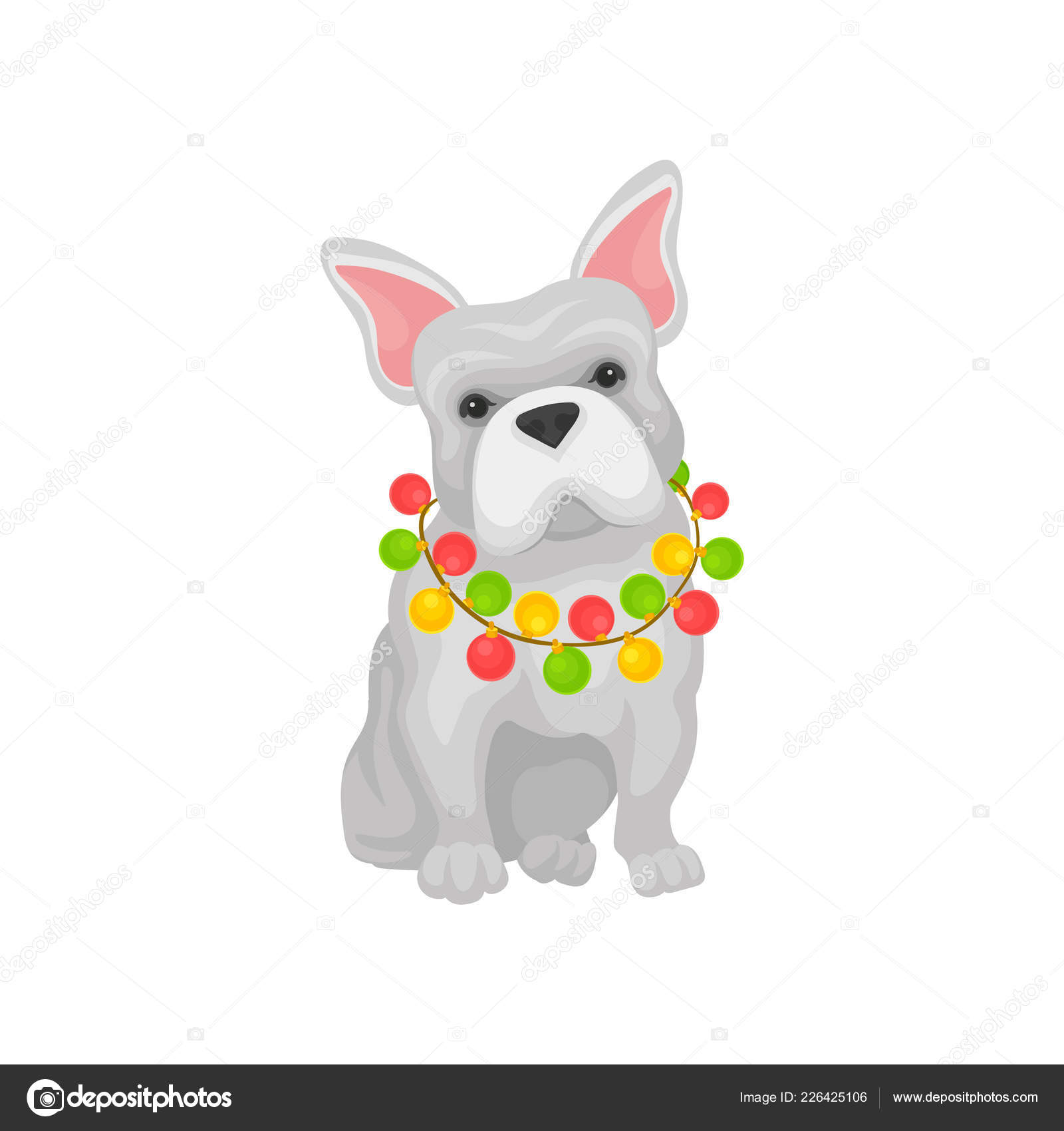 Adorable French Bulldog With Christmas Garland On Neck Home Pet