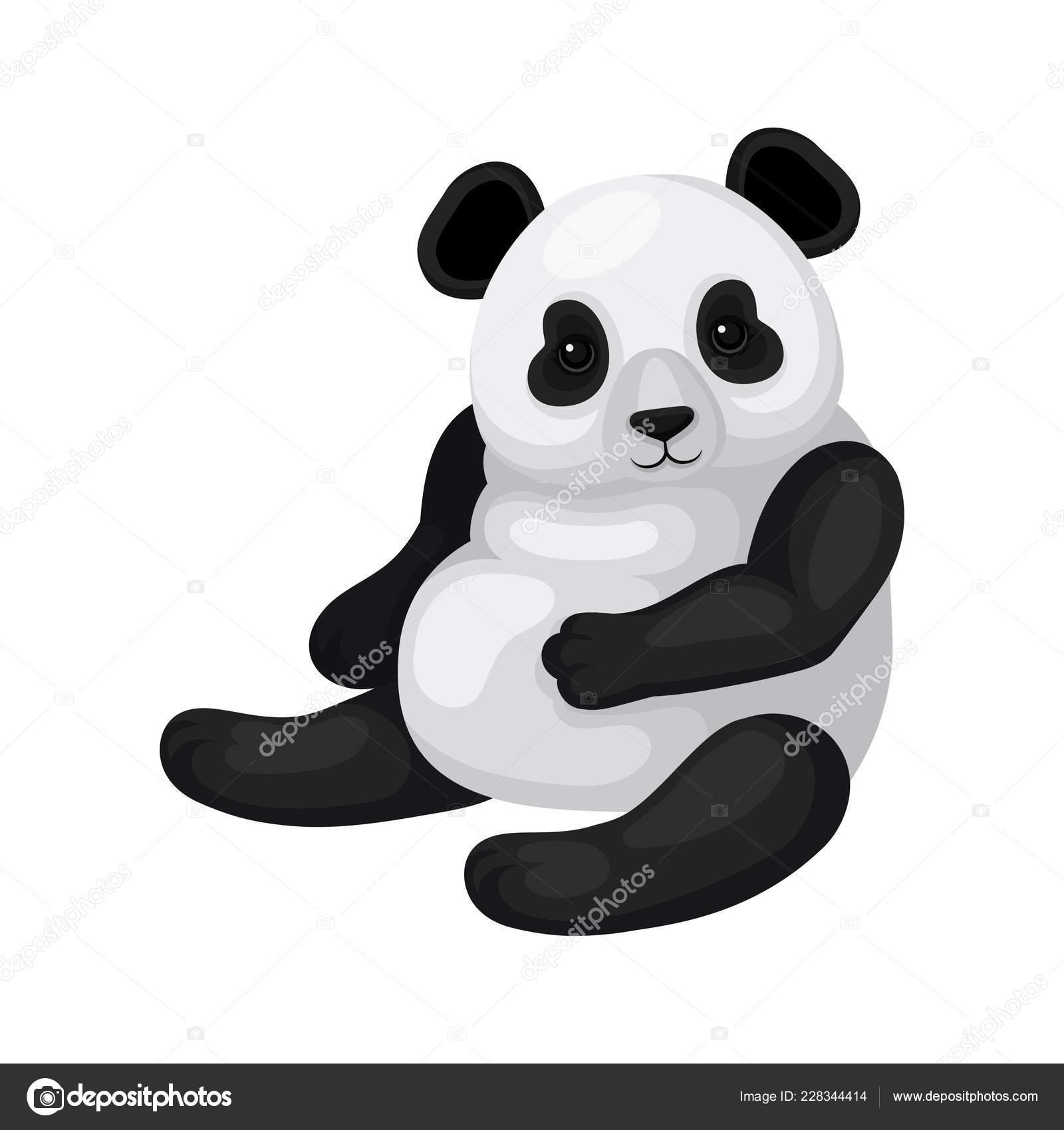 Design Plat Vecteur De Panda Assis Ours En Bambou Noir Et