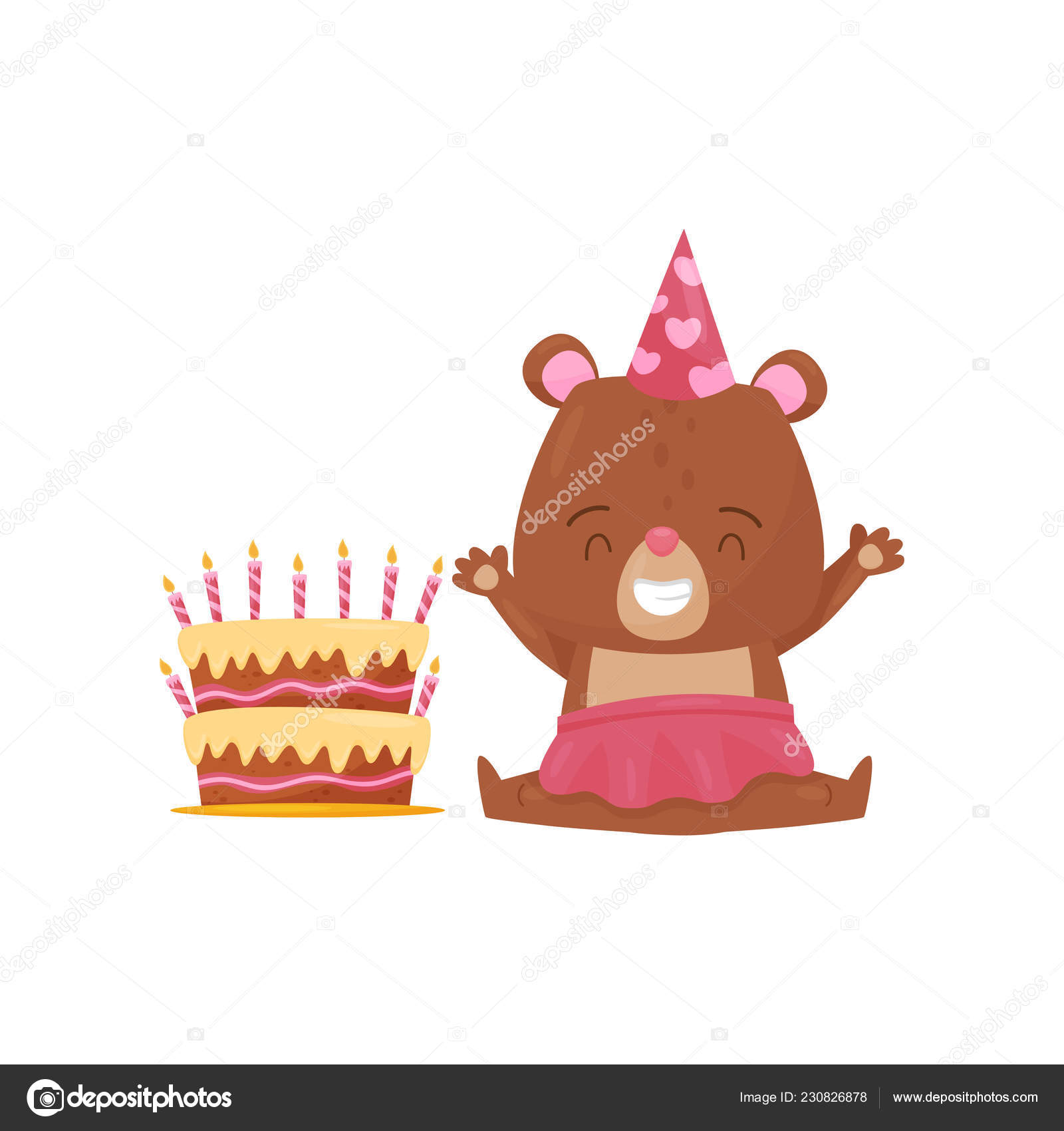 Happy Girl Bear Sitting On Floor Near Big Birthday Cake Humanized Animal And Holiday Dessert