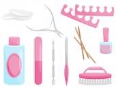 flache Vektor-Set von Maniküre und Pediküre-Tools. professionelle Instrumente für die Nagelpflege. Schönheitsthema