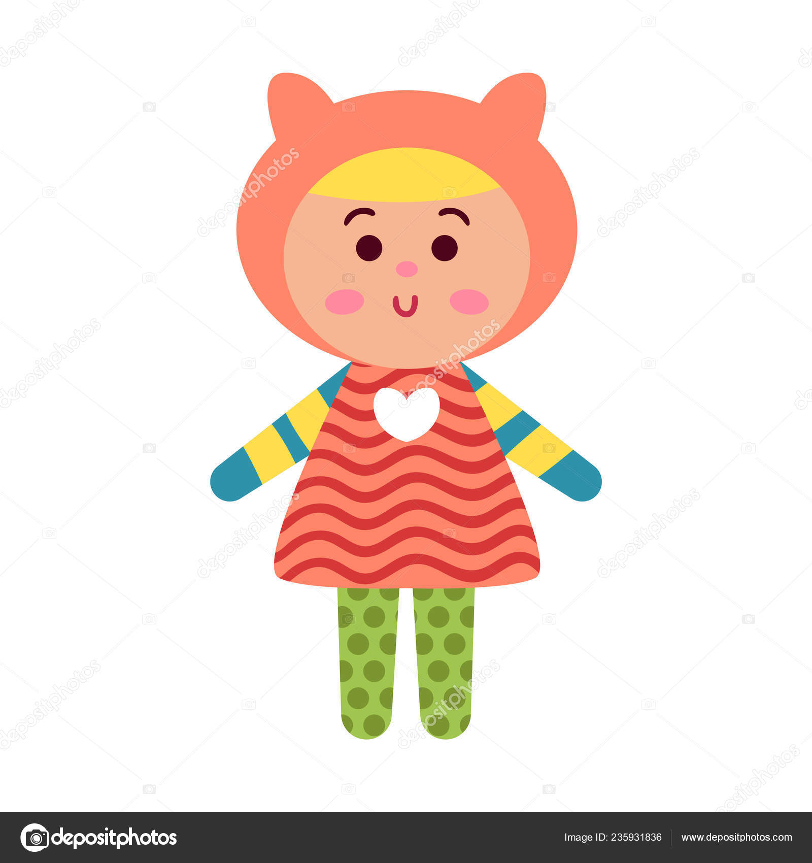 Cute Cartoon Colorful Baby Doll Toy Vector Illustration Stock