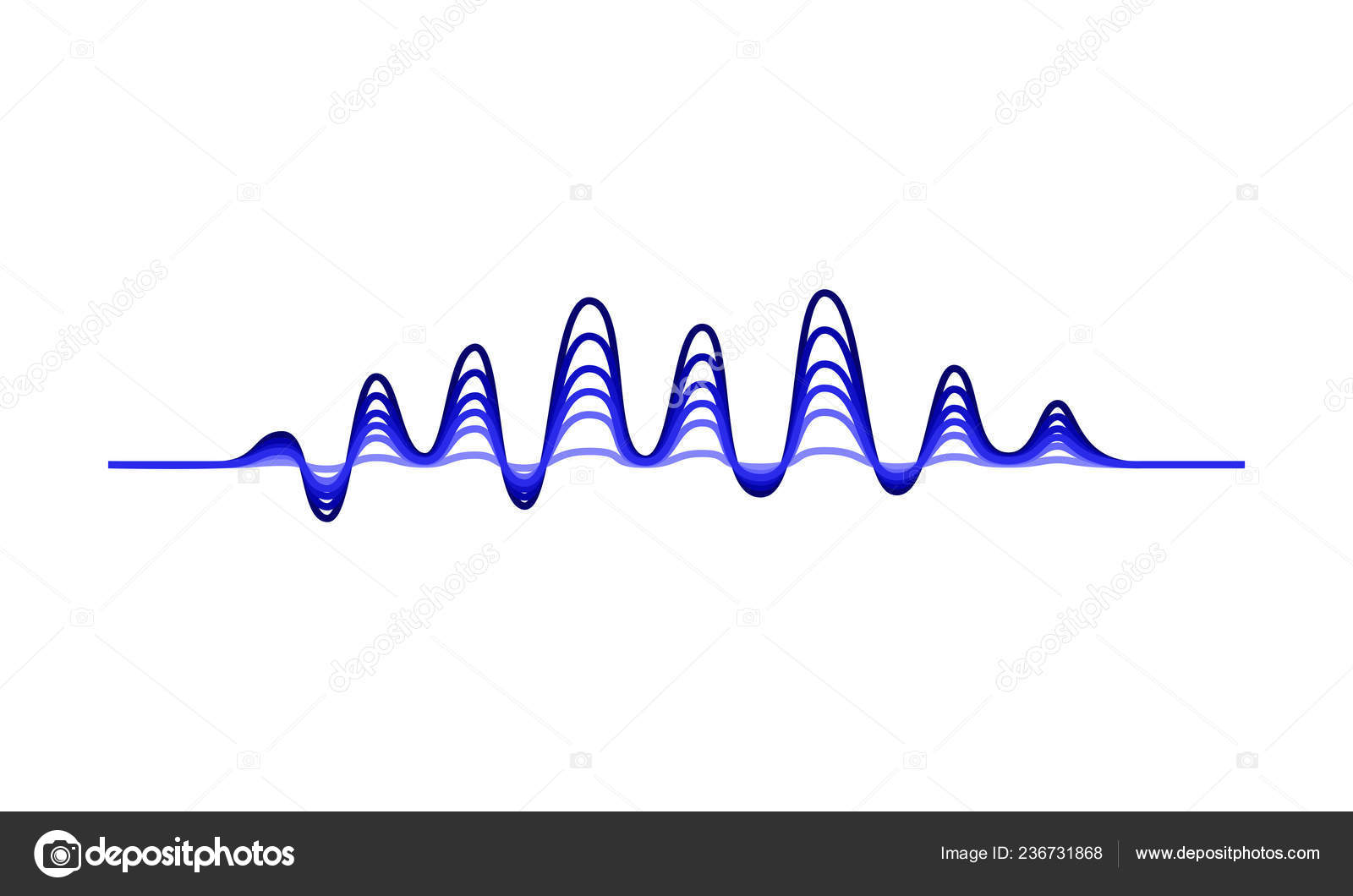 Vector design of music wave  Blue wavy lines  Sound
