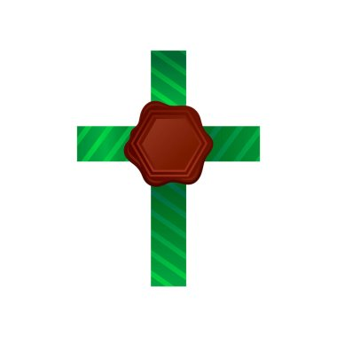 Brown hexagonal wax seal with green striped ribbon. Postal stamp with place for your text. Vector design