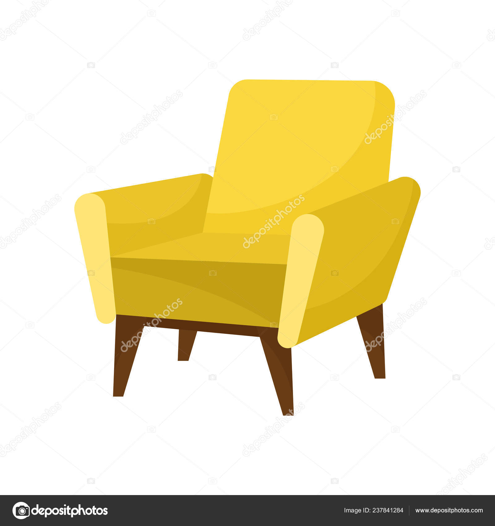 Fabulous Trendy Yellow Armchair With Wooden Legs Comfortable Machost Co Dining Chair Design Ideas Machostcouk