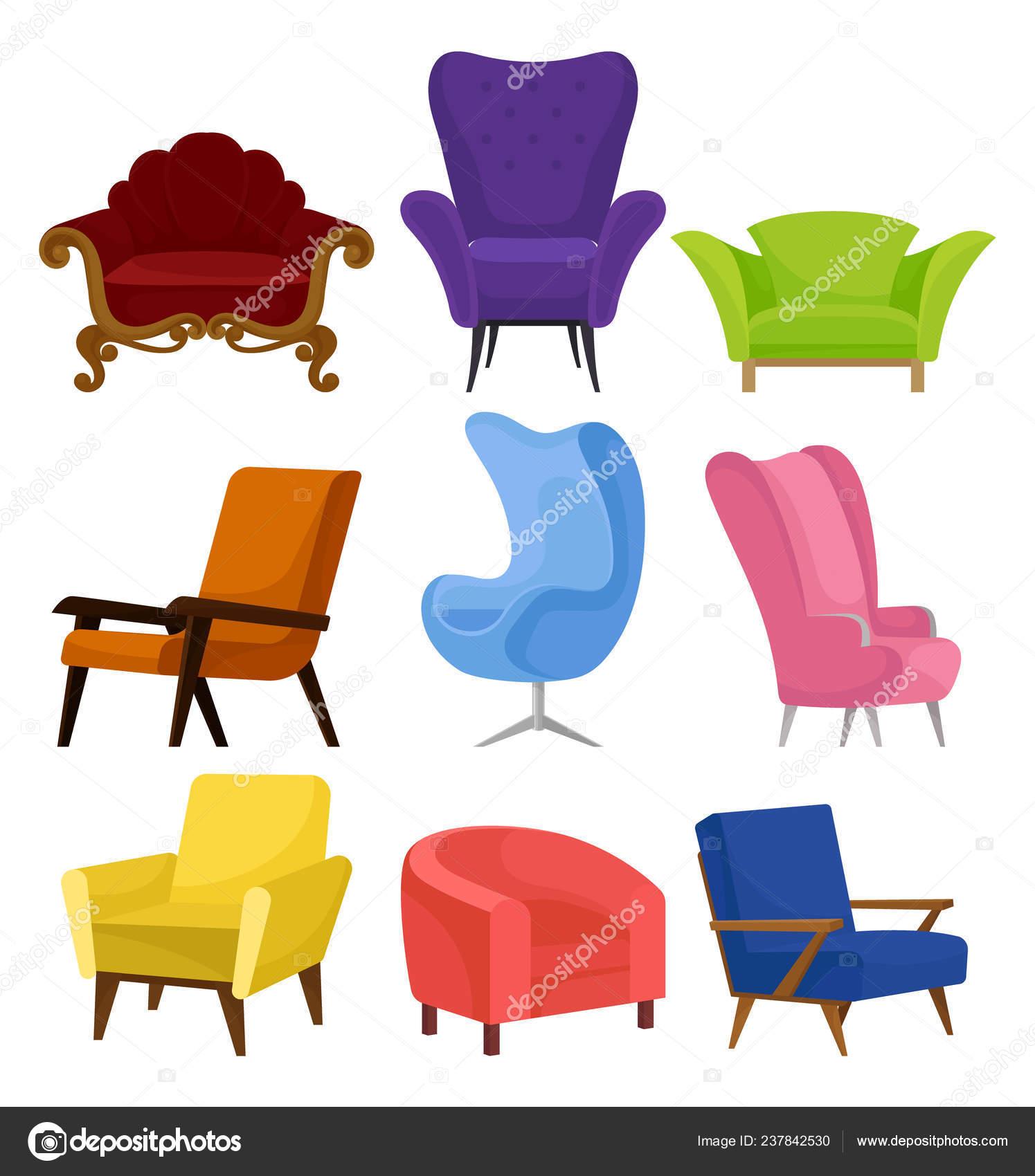 Poltrone Moderne Colorate.Piatto Vecrtor Set Di Comode Poltrone Retro E Moderne Sedie
