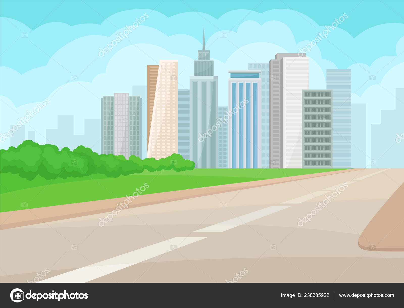 Urban Landscape With Road High Rise Buildings Green Grass And