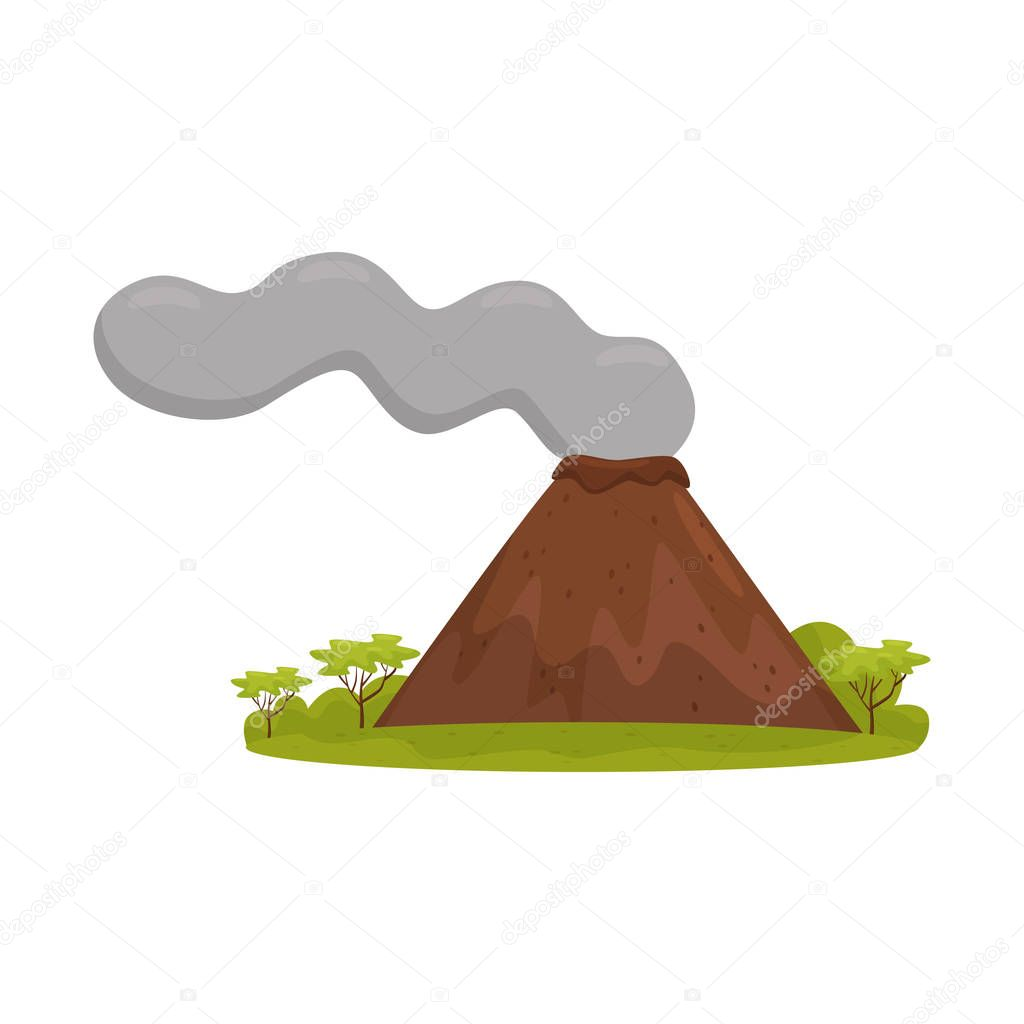 Natural Bali landscape with smoking volcano, green grass and trees. Cartoon vector design