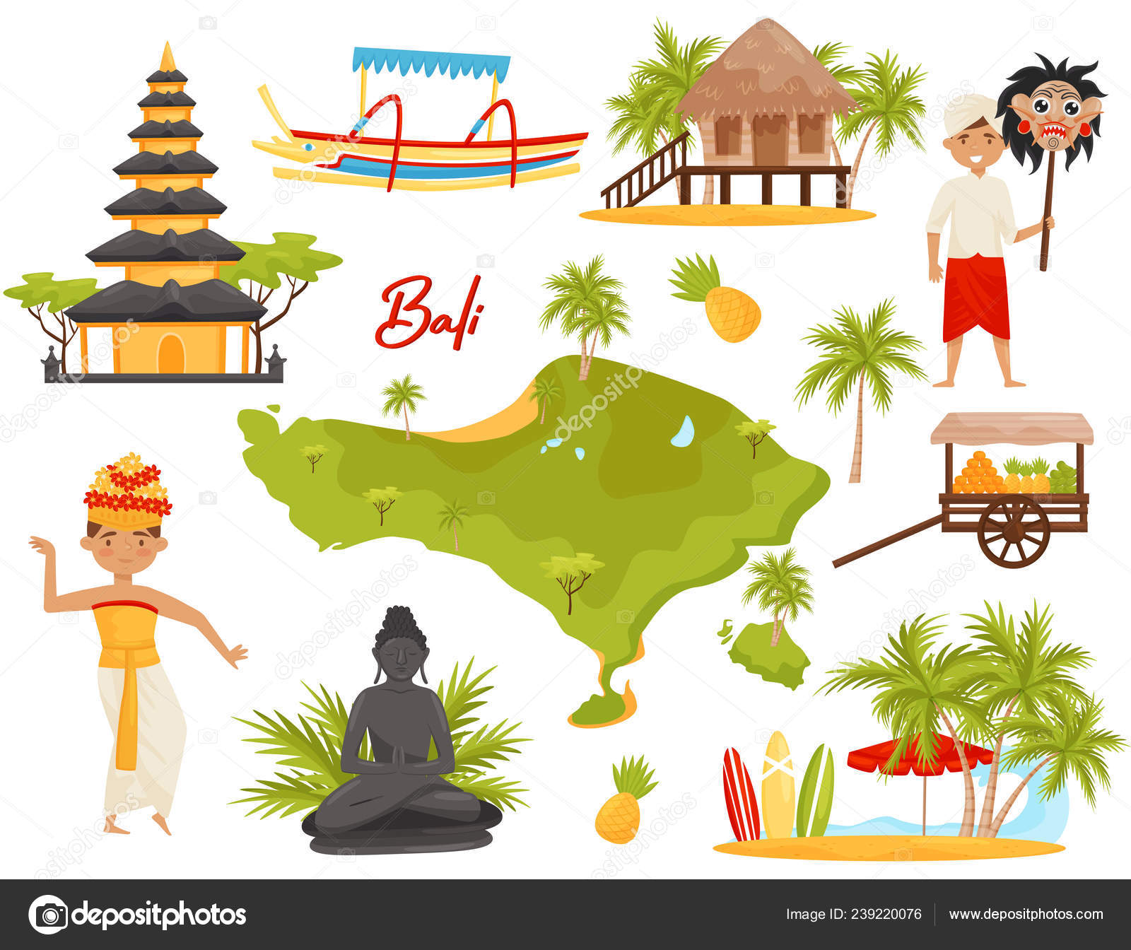 Flat Vector Set Of Balinese Landmarks And Cultural Objects