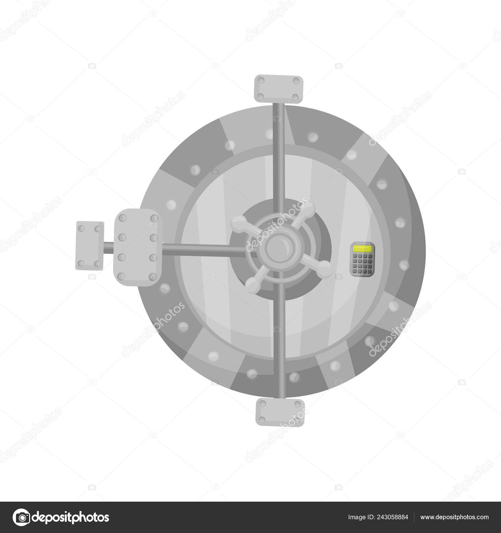 Metal Round Bank Vault Door With Button Keypad Strong Cabinet With Electronic Code Lock Flat Vector Design Stock Vector C Happypictures 243058884