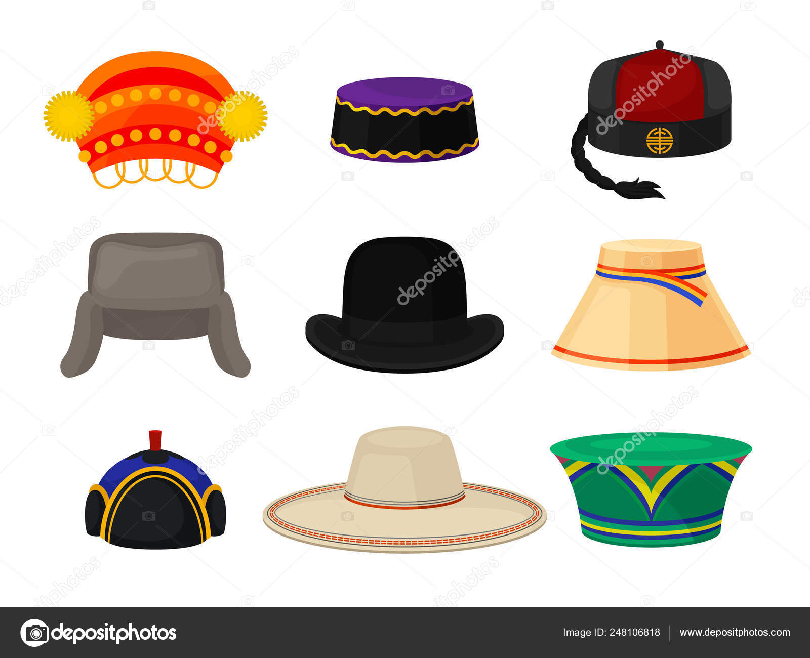df7aa7ab503d5 Flat vector set of different national headwear. Headdress for men ...