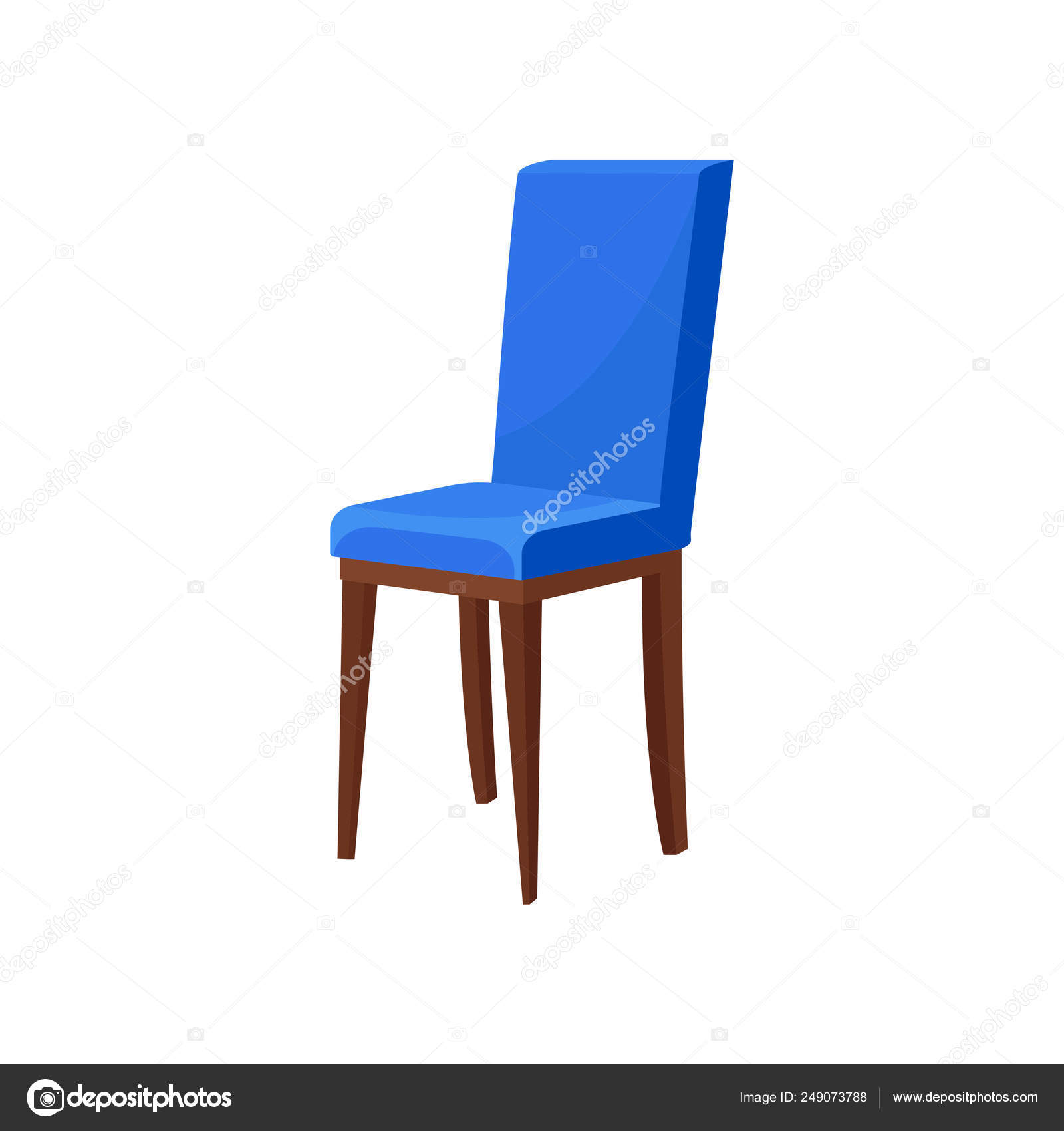 Cómoda silla de madera con tapizado azul brillante. Asiento ...