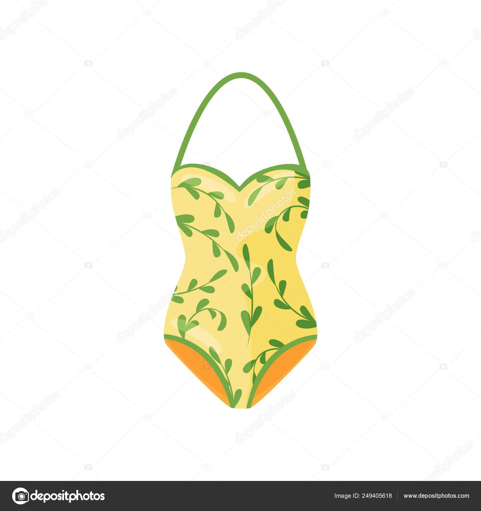 f26518fc58c Mono una sola pieza. Icono de vector plano– Ilustración de Stock. Traje de  baño halter amarillo con patrón natural. Ropa de mujer. Moda de baño