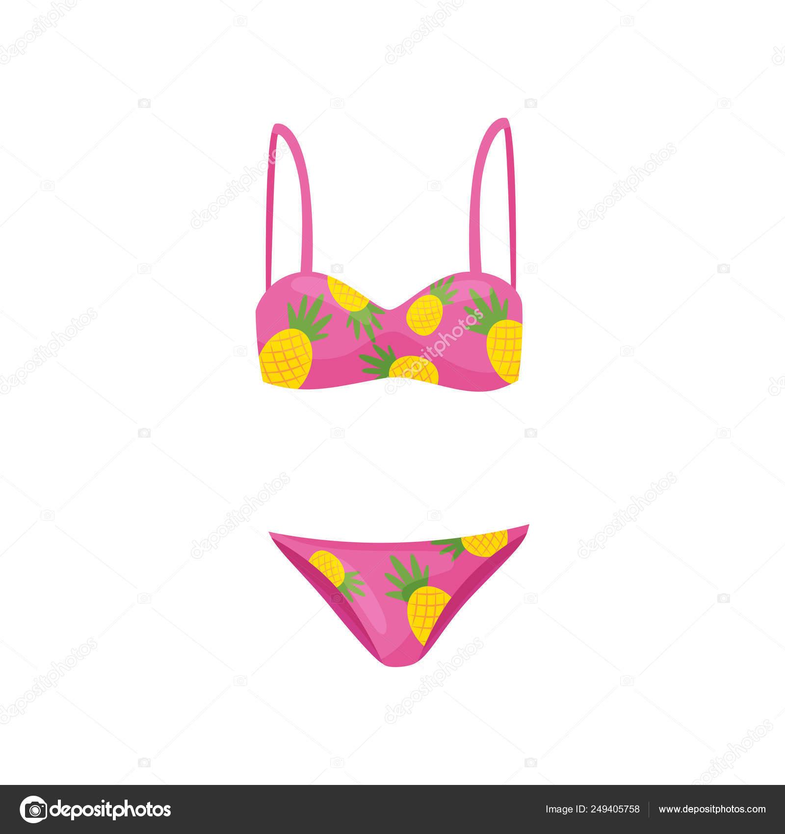 Rosa Traje Con Dos Color Impresión Baño Piezas PiñaRopa De EHW2IYD9