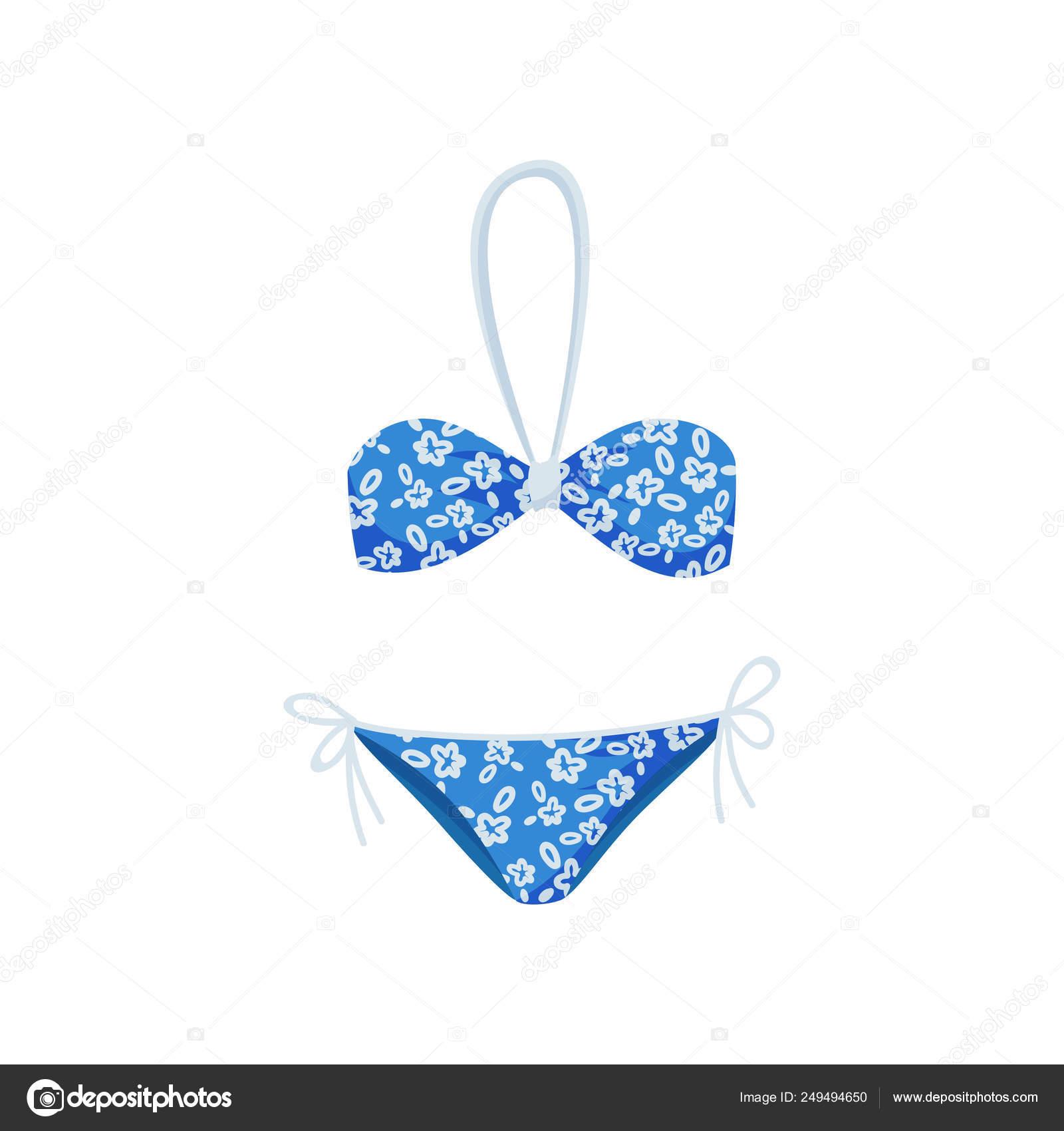 f33dc91dd25 Bikini azul brillante con flores. Moda mujer ropa para nadar. Moda traje de  baño de dos piezas. Tema de moda. Ilustración de vector colorido estilo  plano ...